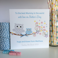 Personalised Mother's Day Card with Owls  (LB127)