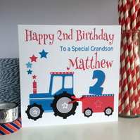Personalised Tractor Birthday Card 1st, 2nd, 3rd, 4th, 5th 6th  (LB227)