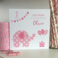 Personalised Elephant Birthday Card 1st First 2nd 3rd 4th LB261