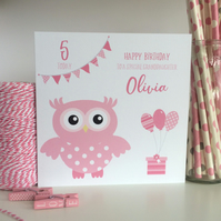 Personalised Owl Birthday Card 1st First 2nd 3rd 4th 5th LB263