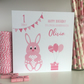 Personalised Bunny Rabbit Birthday Card 1st First 2nd 3rd 4th 5th LB264