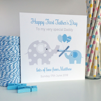 Personalised Elephant First 1st Fathers Father's Day Card Pink or Blue (LB149)