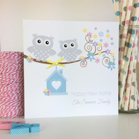 Handmade Personalised Owl New Home Card (LB154)