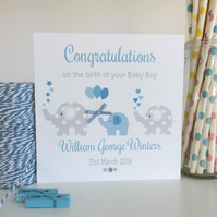 Personalised Elephant New Baby Boy Card (LB058)