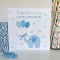 Personalised Blue Elephant Christening, Baptism, Naming Day Card (LB064)