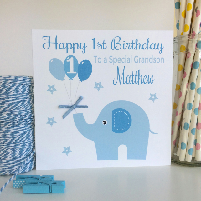 Personalised Blue Elephant Birthday Card (LB046)