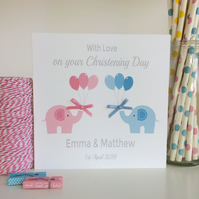 Personalised Twins Christening, Baptism Card with pink or blue Elephants (LB061)