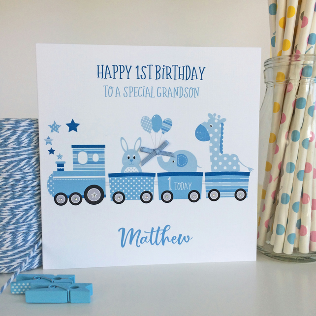 Personalised Birthday Card with Train and Animals (LB285)