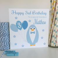 Personalised Blue Penguin Birthday Card Son Grandson Godson Daddy (LB095)