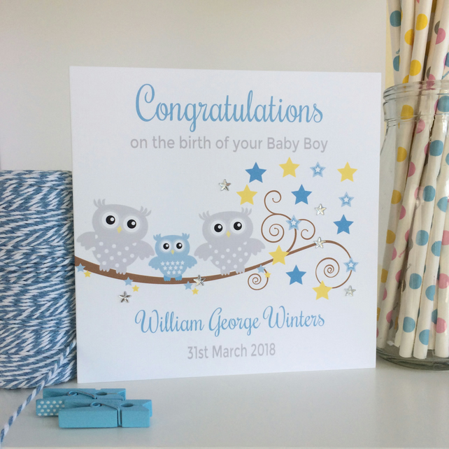 Personalised Blue Owl New Baby Boy Card (LB033)