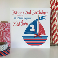Personalised Red White and Blue Boat Birthday Card (LB070)