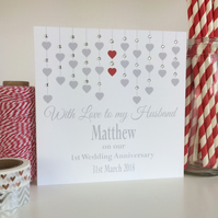Personalised Husband or Wife Wedding Anniversary Card (LB084)