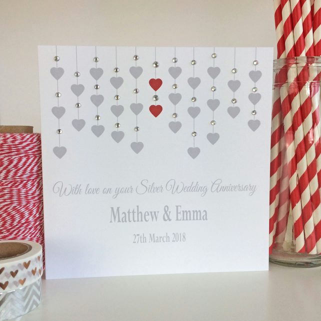 Personalised Silver 25th Wedding Anniversary Card (LB011)