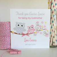 Personalised Thank you for being my Godparent, Godmother, Godfather Card (LB031)