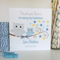 Personalised Thank you for being my Godparent, Godmother, Godfather Card -LB031B