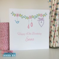 Personalised Floral Birthday Card (LB152)