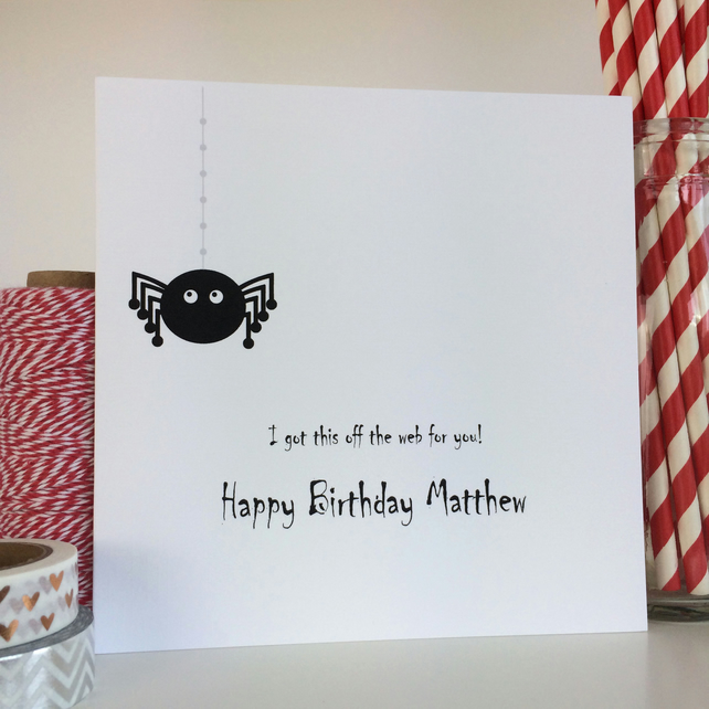 Personalised Spider Birthday Card