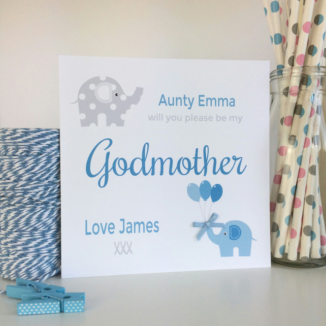 Personalised Will you be my Godparents, Godmother, Godfather Card in Blue - LB63