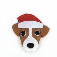 Christmas Jack Russell - Felt Dog Decoration