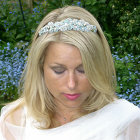 Handmade  Blue  Tiny Rosebud Headband , or Tiara