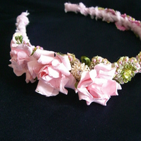 A Stunning  Mini Pink and Green Boho Chic bridesmaid  headband .