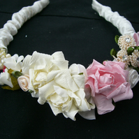Mini Bridesmaid Boho Chic Pink and Ivory Headband