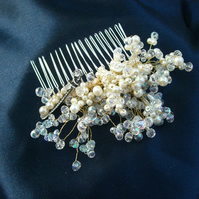 Stunning Bridal Vintage Crystal and Pearl Hair Comb
