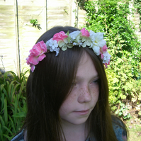 Flower Girl  Woodland Pink and Ivory Hair Wreath