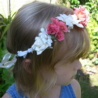 Mini Coral and Ivory Hair Garland