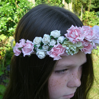 Pink and Ivory Flower Girl Garland