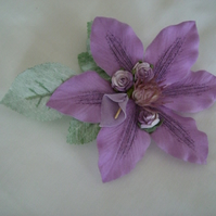 Vintage Style Liliac Clematis  Duo Hair Clip