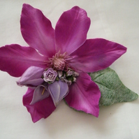 Vintage Style Fuschia Clematis  Duo Hair Clip