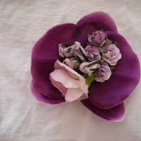 Vintage Style Purple Orchid Duo Hairclip