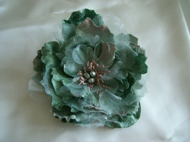 Vintage Style Aqua Cabbage Rose Hair Clip duo Pin