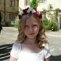 Boho Chic Mini Bridesmaid Red and Ivory Headband