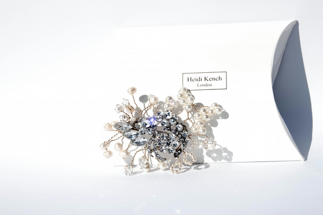 Jewelled Crystal and Pearl clip