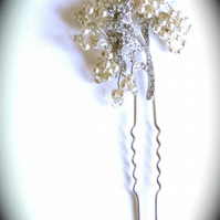 Vintage Style Pearl and Cubic  Zirconia Hair Pin