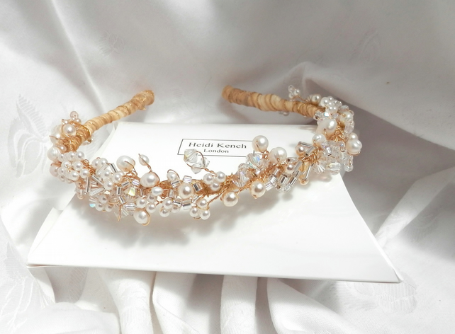 Bridal Gold Creeping Vine Tiara