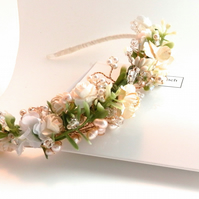 Cream Rose Head Band