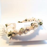 Cream & Sage Green  Flower Wrap