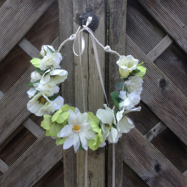 Boho Chic White Flower Crown