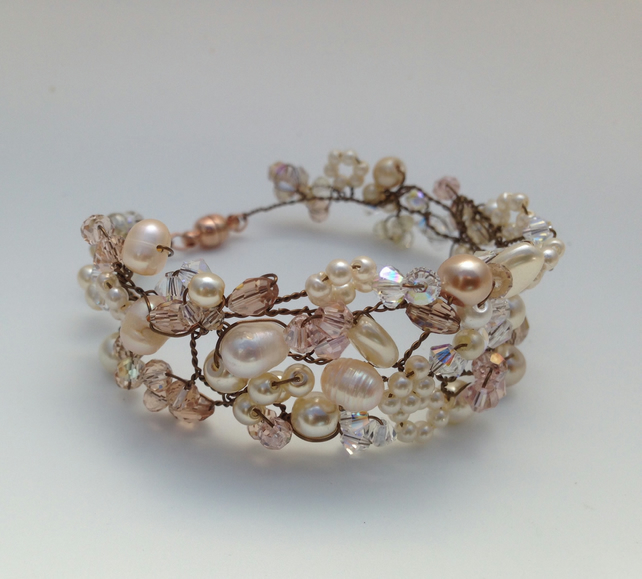 Champagne Freshwater Pearl Cuff