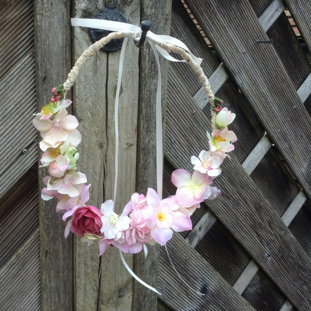 Shades of Pink Woodland Hair Crown