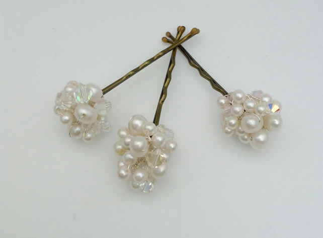 A Trio of Ivory Pearl Pins