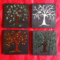 Seasonal Trees Hand Painted Slate Coasters - set of 4
