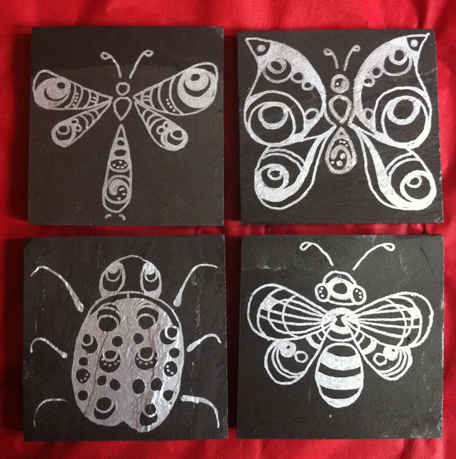 Silver Butterfly and  Insect Slate Coasters - set of 4