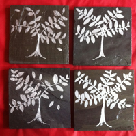 Silver Bay Tree Slate Coasters - set of 4