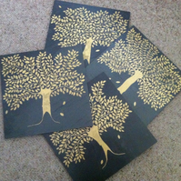 Gold Bay Tree Slate Placemats - set of 4