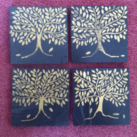 Gold Bay Tree Slate Coasters - set of 4