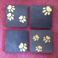 Gold Paw Print Slate Coasters - set of 4